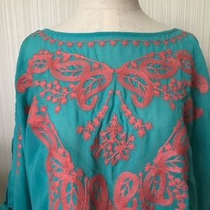 Embroidered Sheer Blouse with Tie Sleeves